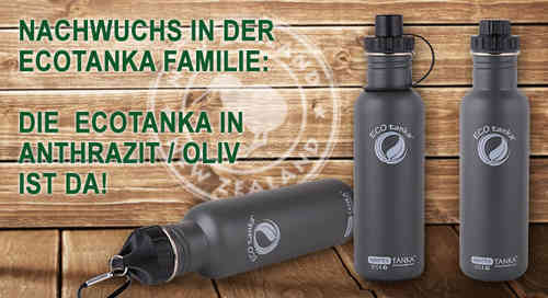 0,8l Sports Tanka in Anthrazit/Oliv mit Sport-Verschluss