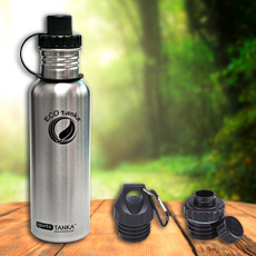 0.8 l Sports Tanka in stainless steel with 3 closures